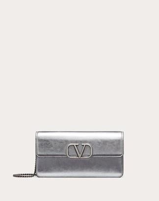 Valentino Vsling Metallic Calfskin Wallet With Chain Strap Women Silver Calfskin 100% OneSize