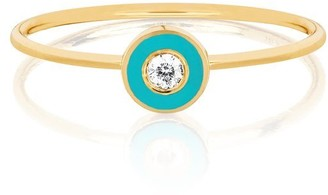 Ef Collection 14ct Yellow Gold And Diamond Enamel Ring