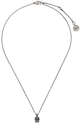 Alexander McQueen Pave Skull Pendant Necklace