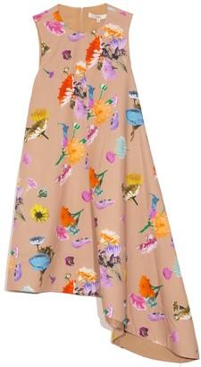 Tibi Arya Print Sleeveless Dress in Khaki Multi