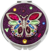 Betsey Johnson Silver-Tone Multi-Stone Butterfly Purple Glitter Compact Mirror