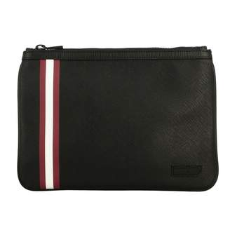 Bally Bex.md.of Clutch Bag In Saffiano Leather With Striped Band