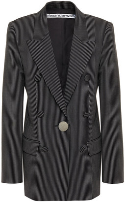 Alexander Wang Leather-trimmed Pinstriped Twill Blazer