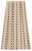 Gucci Silk skirt with Web Kisses print
