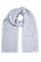 Quiz Grey And Silver Swallow Print Scarf