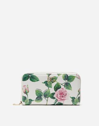 Dolce & Gabbana Dauphine Calfskin Zip Around Wallet With Tropical Rose Print