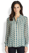 Kerry Scarab-Print Silk Blouse