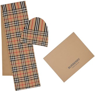 Burberry MERINO WOOL DOUBLE KNIT HAT & SCARF