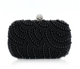 TopTie Elegant Pearl Overlay Hard Case Clutch, Beaded Wedding Bag