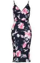 Quiz Black And Pink Floral Print Bodycon Midi Dress