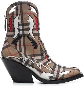 Burberry Topstitch Applique Vintage Check Boots