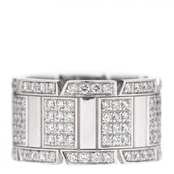 18K White Gold Diamond Tank Francaise Cartier Ring
