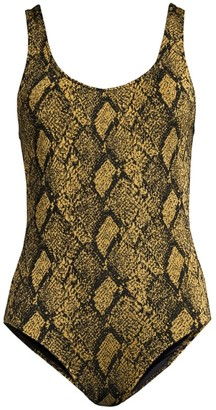 Solid And Striped Anne-Marie Snake-Print One-Piece Swimsuit