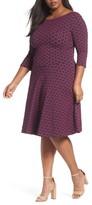 Leota Plus Size Women's Circle Knit Fit & Flare Dress