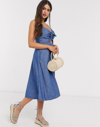 Abercrombie & Fitch tie front cami skater midi dress in blue