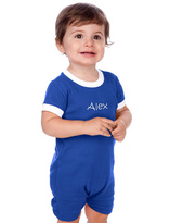 Princess Linens Royal Blue & White Personalized Romper - Infant