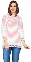Denim & Co. Stripe Printed 3/4 Sleeve Knit Top with Lace Trim