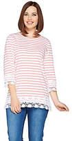Denim & Co. Stripe Printed 3/4 Sleeve Knit Topwith Lace Trim