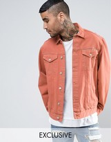 Reclaimed Vintage Denim Jacket In Orange Overdye