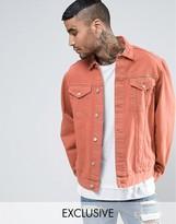 Reclaimed Vintage Inspired Denim Jacket In Orange Overdye