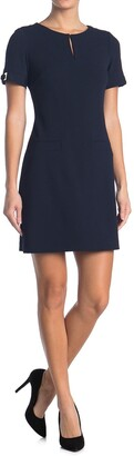 Tommy Hilfiger Front Keyhole Short Sleeve Dress