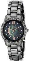 Anne Klein Women's AK/2161GMRT Swarovski Crystal Accented Gunmetal Bracelet Watch