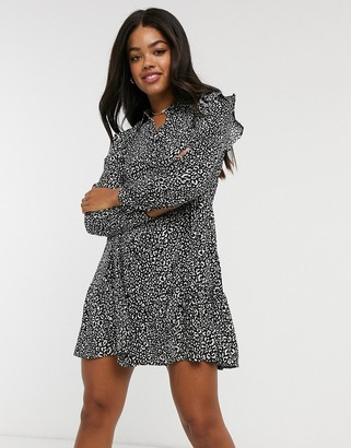Stradivarius shirt dress with shoulder frill detail in black animal print