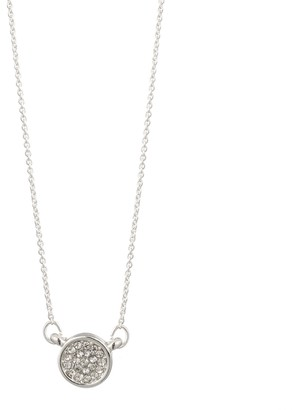 Dana Buchman Silver Tone Pave Disc Pendant Necklace