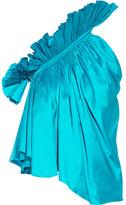 Marques Almeida Marques' Almeida - One-shoulder Ruffled Silk-taffeta Top - Turquoise
