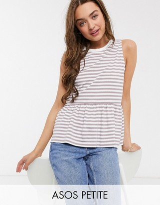 ASOS DESIGN Petite sleeveless smock top in washed stripe