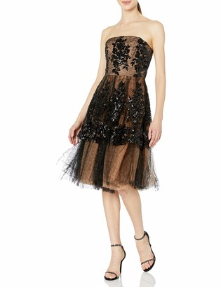 Dress the Population Women's FAE Strapless Sequin Tulle Fit & Flare Party Dress