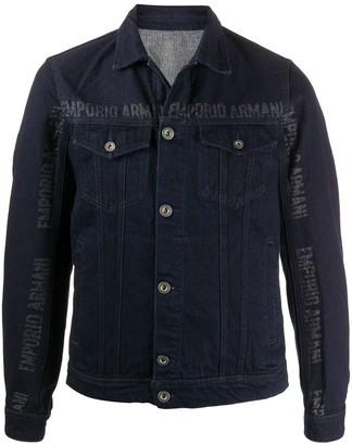Emporio Armani Logo Print Denim Jacket