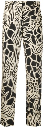 Alberta Ferretti Animal Print Pleated Detail Trousers