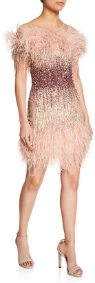 Pamella Roland Ostrich-Feather & Sequined Cocktail Dress