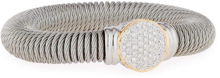 Alor Cable Spring Coil Bracelet w/ Pave Diamond Station, Gray