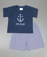 Princess Linens Navy Anchor Personalized Tee & Shorts - Infant Toddler & Boys