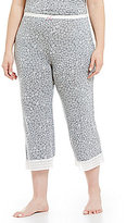 Kensie Plus Floral Jersey & Lace Capri Sleep Pants