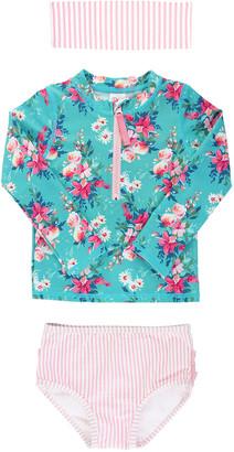 RuffleButts Girl's Floral Seersucker Half-Zip Rash Guard Bikini w/ Headband, Size 3M-10