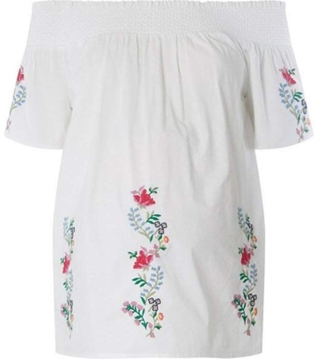 Dorothy Perkins Womens **Maternity White Embroidered Bardot Top