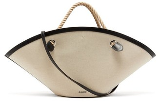 Jil Sander Sombrero Large Rope-handle Leather Bag - White Multi