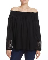 Three Dots Smocked Off-the-Shoulder Top