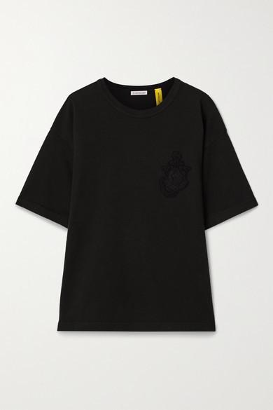 MONCLER GENIUS + 1 Jw Anderson Appliqued Cotton-jersey T-shirt - Black