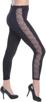 Isadora Women's Leggings BLACK - Black Net-Panel Leggings - Women
