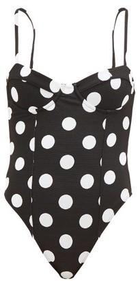 Mara Hoffman Desiree Polka-dot Bustier Swimsuit - Black Print