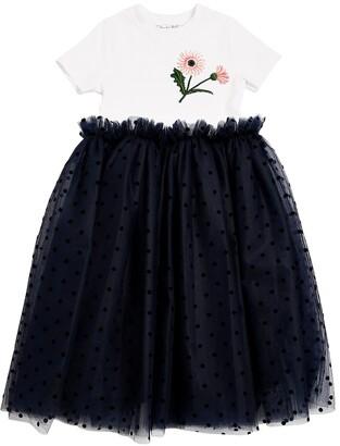 Oscar de la Renta Cotton Jersey & Stretch Tulle Dress