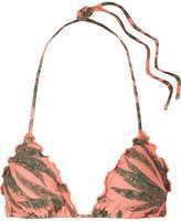 Vix Tropicus Ripple Printed Triangle Bikini Top - Coral