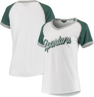 Women's White Michigan State Spartans On The Road Again Colorblock Raglan T-Shirt