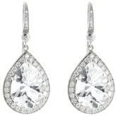 Andrea Fohrman Pear Rock Crystal Earrings with Accent Diamonds - White Gold