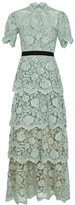 Self-Portrait Self Portrait Mint Tiered Guipure Lace Maxi Dress