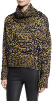 Rag & Bone Sandra Cropped Melange Turtleneck Sweater, Navy/Gold